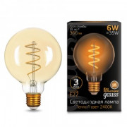 Светодиодная LED лампа Gauss Filament G95 Flexible E27 6W Golden 2400К 2K 105802007