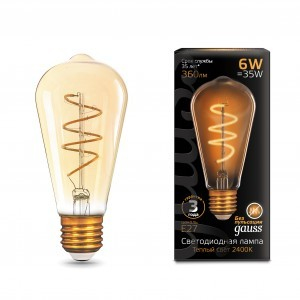 Светодиодная LED лампа Gauss Filament ST64 Flexible E27 6W Golden 2400К 2K 157802006